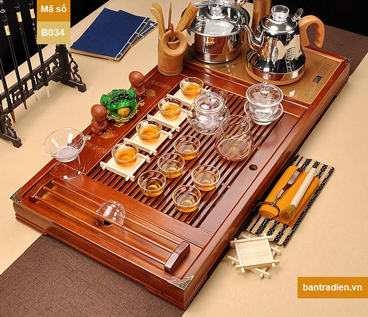 bàn trà điện thông minh đa năng tự động bằng gỗ B034